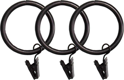 Metal Rings With Clips For 1 3/8 in. Rod<BR> Set of 12