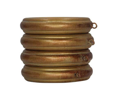 Wood Grooved Drapery Rings for 2in or 2 1/4in Pole <BR> Set of 4 in 3 Colors