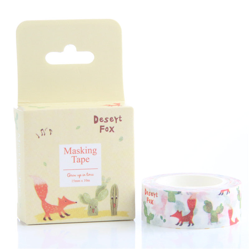 Desert Fox and Cactus Decorative Washi Tape