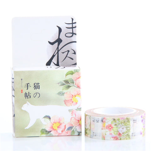Floral Cat Decorative Washi Tape