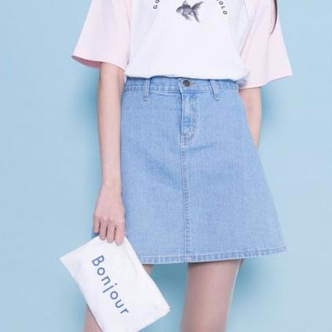 A-Line Denim Skater Skirt