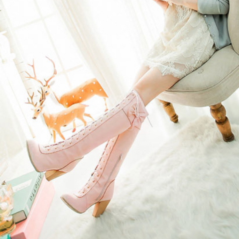 Lace Up Bow Boots