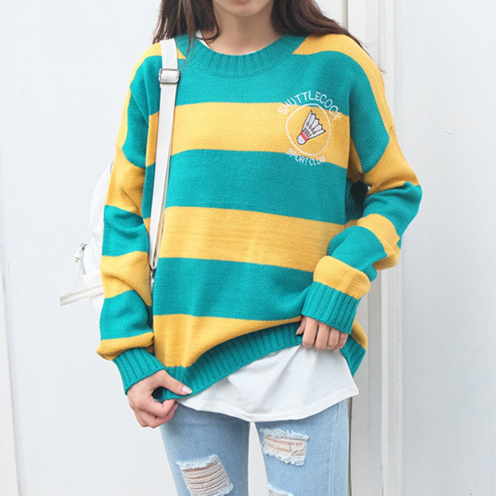 Striped Shuttlecock Sweater