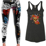 Sugar Skull Leggings - PeaceLoveYogaShop, YogaBellies, PeaceLoveYogaMat, PeaceLoveYogaBellies, Cherylyogabelle