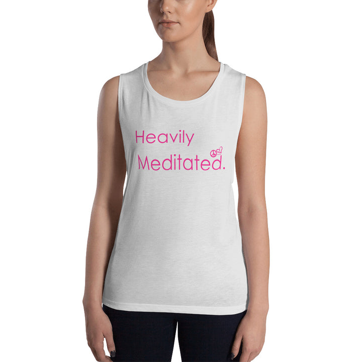 Heavily Meditated. Ladies' Muscle Tank - PeaceLoveYogaShop, YogaBellies, PeaceLoveYogaMat, PeaceLoveYogaBellies, Cherylyogabelle