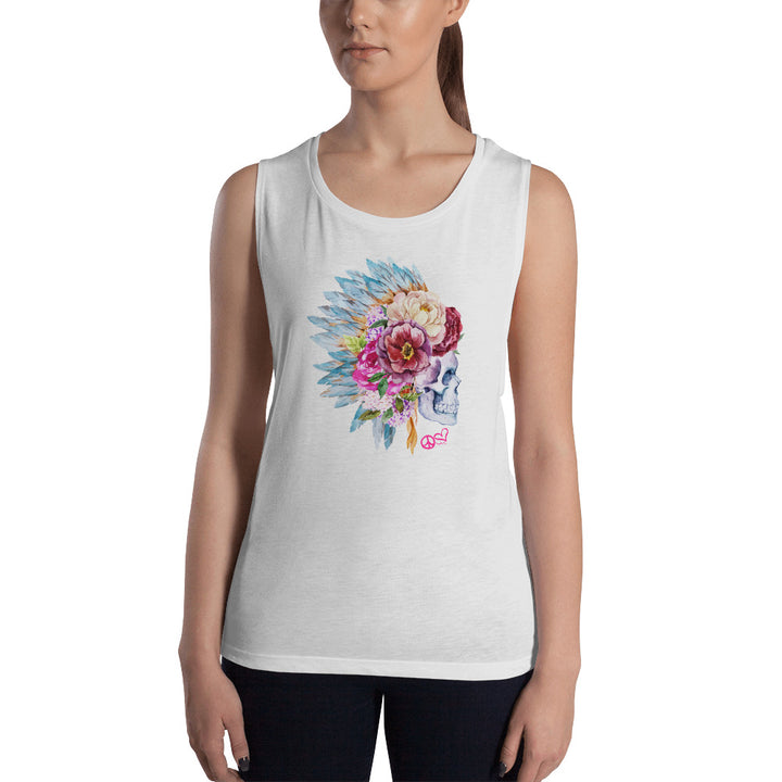 Sugar Skull. Ladies' Flowy Yoga Tank - PeaceLoveYogaShop, YogaBellies, PeaceLoveYogaMat, PeaceLoveYogaBellies, Cherylyogabelle