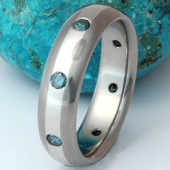 Blue Diamond Titanium Wedding Band with Platinum Inlay