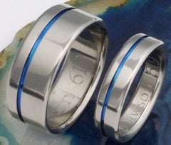 Thin Blue Line Titanium Wedding Band Set