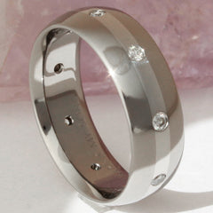 Titanium Platinum and Diamond Wedding Band