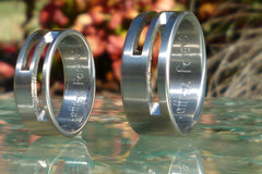 Electric Slide Titanium Wedding Band Set