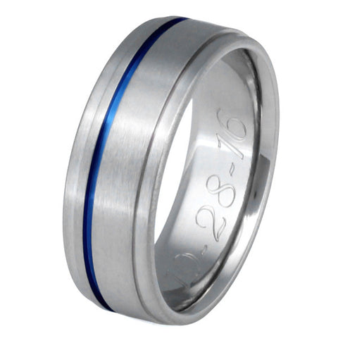 Thin Blue Line Titanium Promise Ring or Wedding Band with Dropped Shoulders - b7