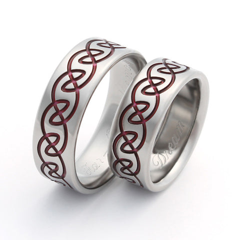 Celtic Titanium Wedding Ring Set Red - stck13