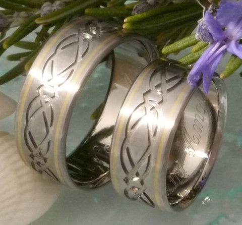 Celtic Infinity Titanium Ring Set with Gold Inlays - stck23