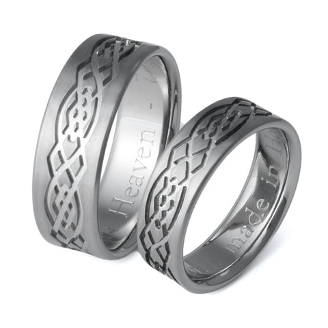 Celtic Titanium Wedding Ring Set - stck8
