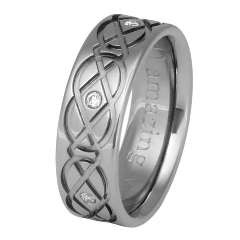 Celtic Titanium Diamond Ring - ck43