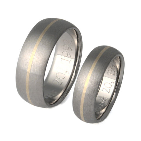 Matching Titanium Gold Wedding Band Set stg4
