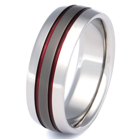 Firefighter's Thin Red Line Titanium Wedding Band - sa11Red
