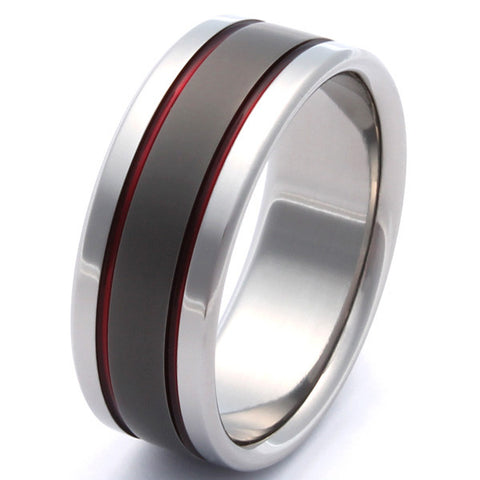 Thin Red Line Titanium Band - sa12Red