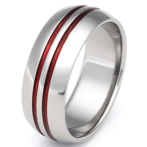 Thin Red Line Titanium Ring - r1