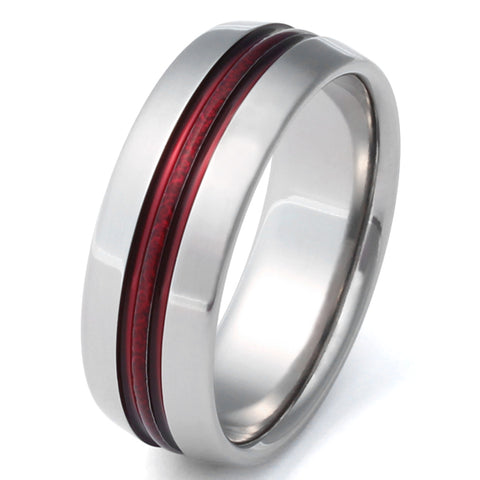 Firefighter's Red Frost Titanium Wedding Band - r16
