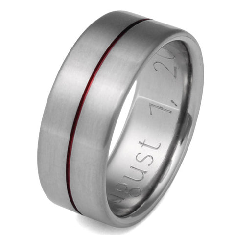 Red Titanium Ring - Firerfighters Ring - r34