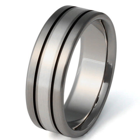 Silver Titanium Ring - sv1Black