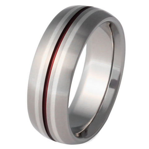 Silver Titanium Ring with Red Stripes - sv4Red