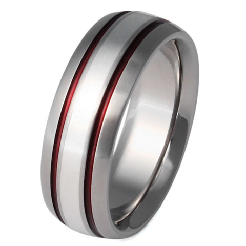 Silver Titanium Ring - sv5Red