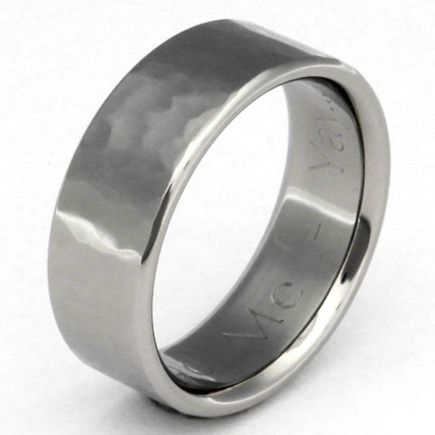 Titanium Hammered Ring - n22Flat