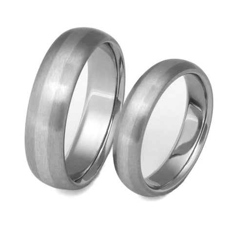 Matching Titanium Platinum Wedding Band Set - stp3