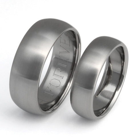 Matching Titanium Wedding Band Set - stn11