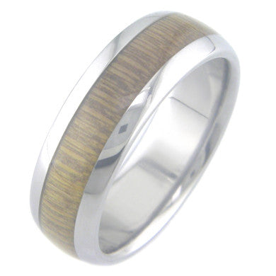 Boone Hardwood Inlay Bamboo Titanium Ring