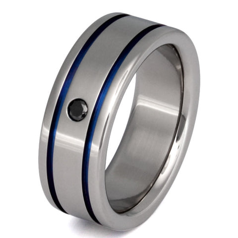 black diamond wedding ring with blue inlays bd10 Titanium Wedding and Engagement Rings