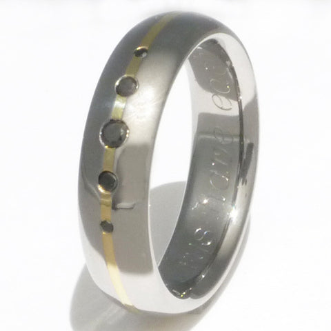 black diamond titanium ring with 18kt gold inlay bd15 Titanium Wedding and Engagement Rings