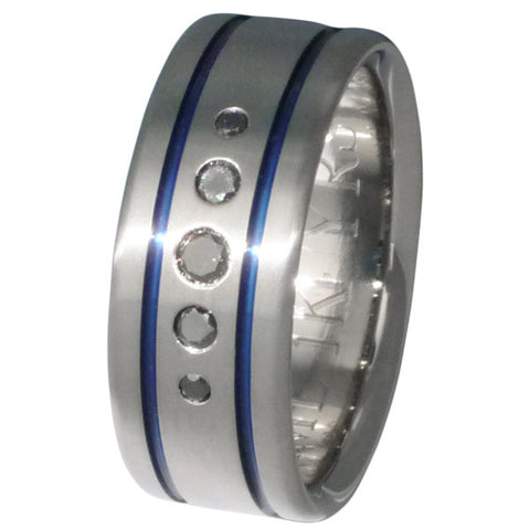 black diamond wedding ring with blue inlays bd16 Titanium Wedding and Engagement Rings