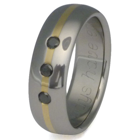 Black Diamond Titanium Wedding Band