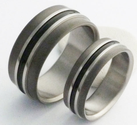 matching titanium wedding band set stbk19 Titanium Wedding and Engagement Rings