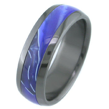 Boone Black Zirconium Titanium Ring - Blue Hawaii