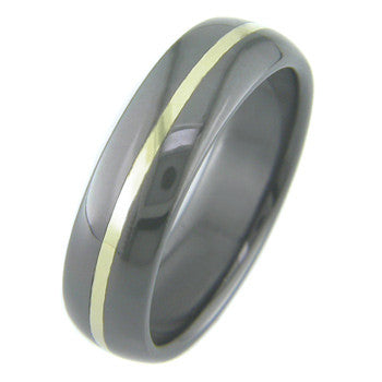 Boone Titanium Black Zirconium Ring w/ Gold Inlay