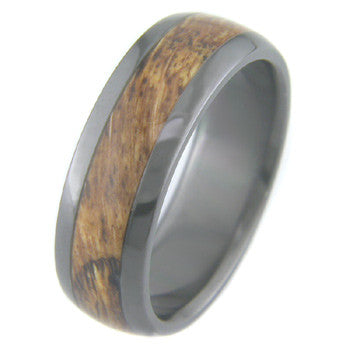 Boone Titanium Black Zirconium Ring w/ Red Oak Burl Inlay