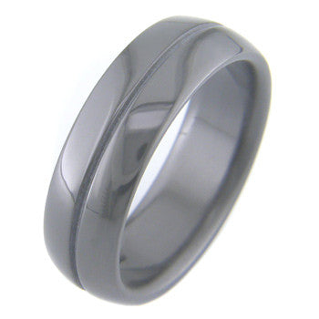 Boone Black Zirconium Titanium Ring with Single Accent Line