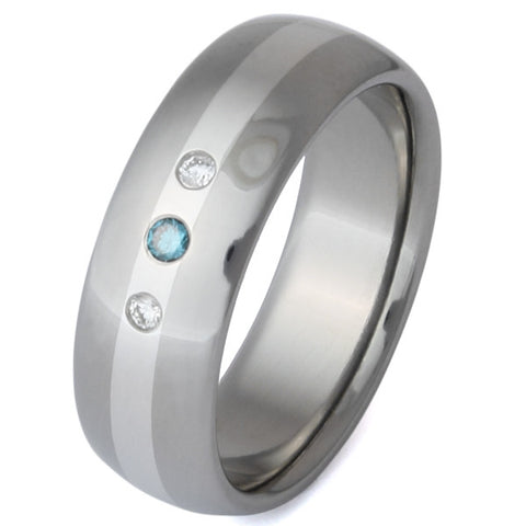 titanium blue and white diamond ring with platium inlay s3 Titanium Wedding and Engagement Rings