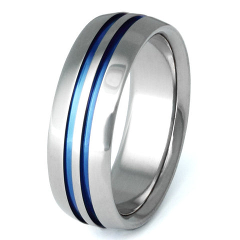 blue titanium promise ring b1 Titanium Wedding and Engagement Rings