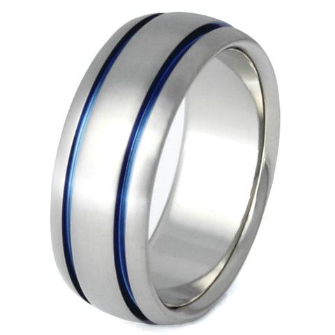 blue titanium promise ring marine b10 Titanium Wedding and Engagement Rings