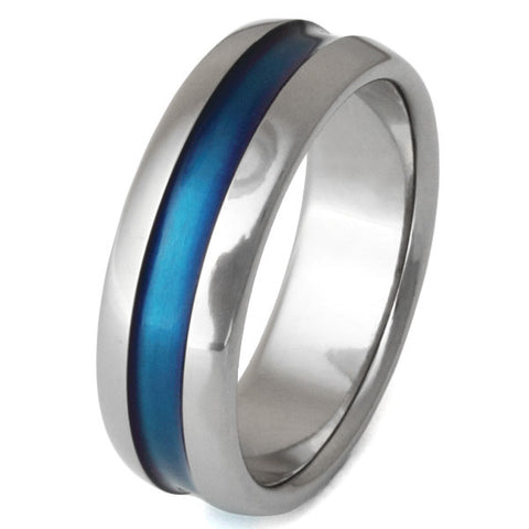 blue titanium ring b14 Titanium Wedding and Engagement Rings