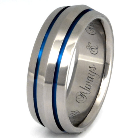 blue titanium ring b17 Titanium Wedding and Engagement Rings