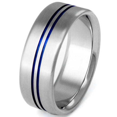 blue titanium rings b21 Titanium Wedding and Engagement Rings
