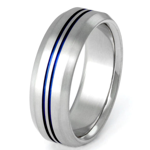 blue titanium ring b26 Titanium Wedding and Engagement Rings