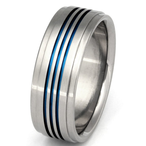 blue titanium promise ring b3 Titanium Wedding and Engagement Rings