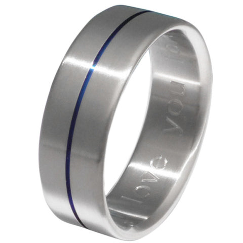 blue titanium wedding band b34 Titanium Wedding and Engagement Rings